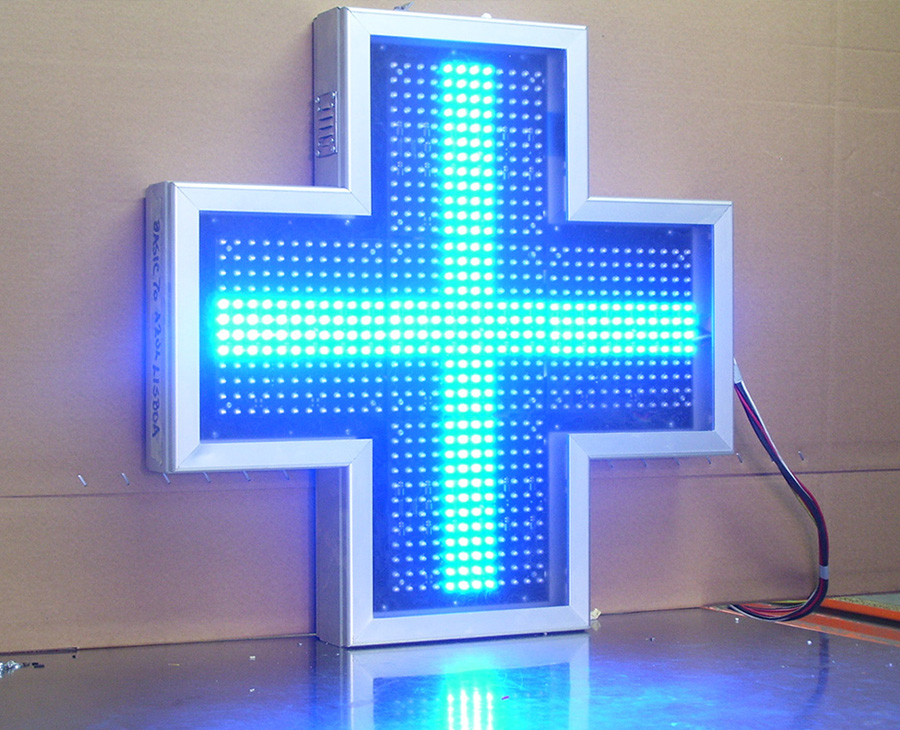 cruz para farmacia azul